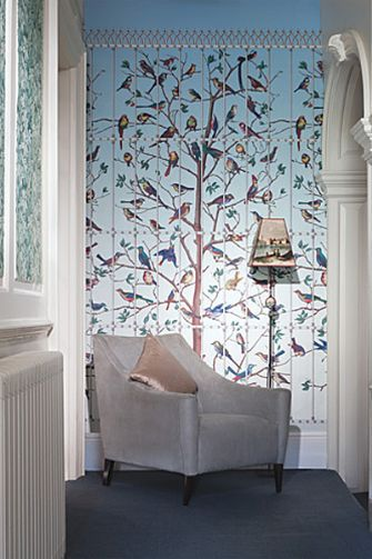 Uccelli -Cole & Son - Fornasetti II Wallpaper, beautiful birds in tree wallpaper -Available through Lee Jofa