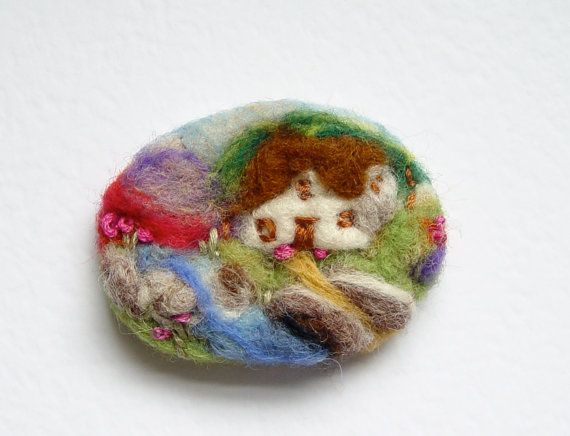 Needle felted brooch pin wool 'River Cottage' by iwantcraft, £6.50