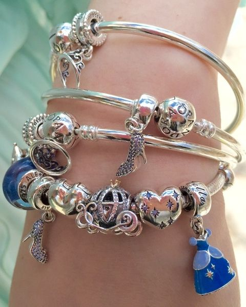 Cinderella styled sterling silver bangle bracelets by Beckerman Blog. #PANDORAlovesDisney