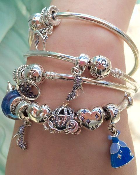 Cinderella styled sterling silver bangle bracelets by Beckerman Blog. #PANDORAlovesDisney