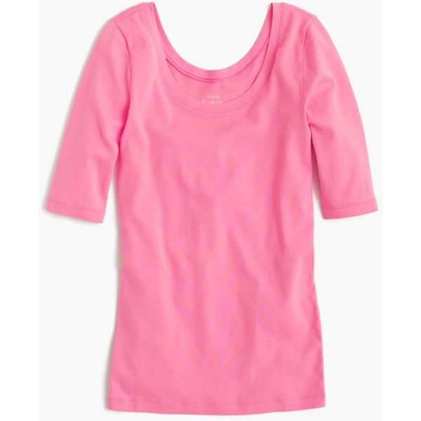 J.Crew Perfect-Fit Scoopneck T-Shirt (650 MXN) ❤ liked on Polyvore featuring tops, t-shirts, half sleeve tee, scoop neck top, j crew tee, scoop neck t shirt and pink t shirt