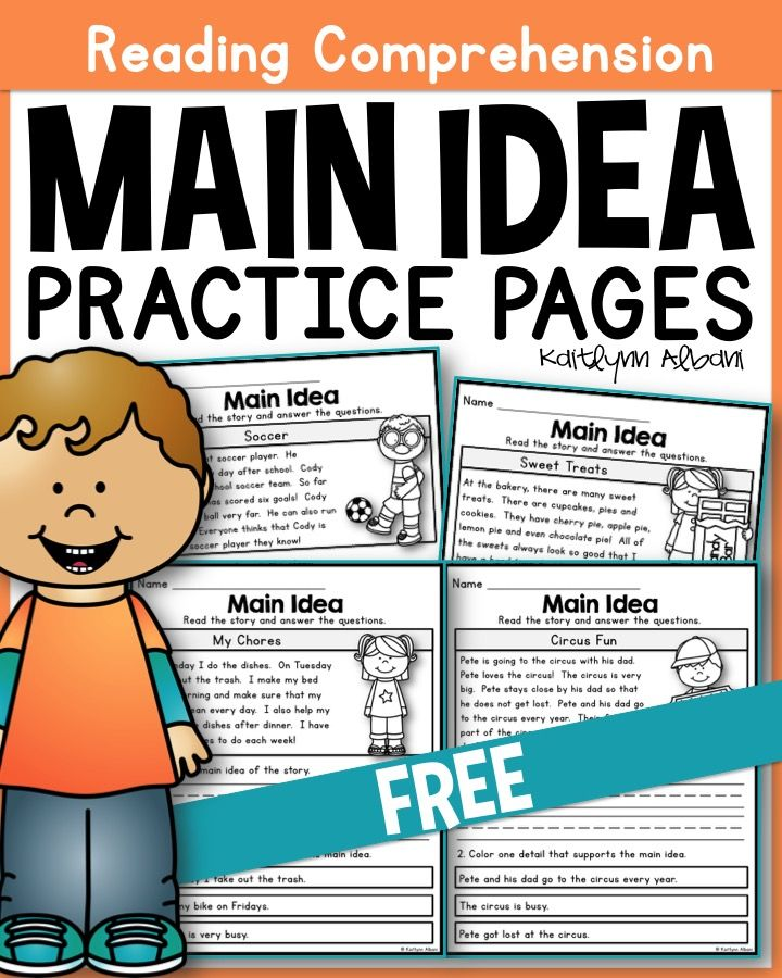 Main Idea Practice Pages for Beginners! FREE!