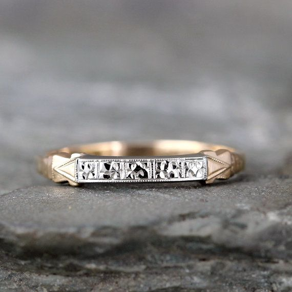 14K Yellow and White Gold Vintage Wedding Band by ASecondTime