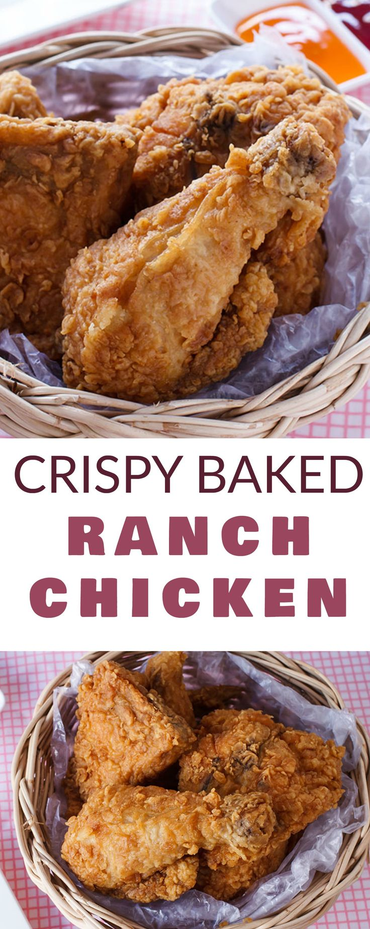 CRISPY chicken made with RANCH dip and baked in the oven!  This easy Crispy Baked Ranch Chicken recipe only needs a few ingredients and makes a healthy dinner!  Serve with a salad or some fresh vegetables on the side!