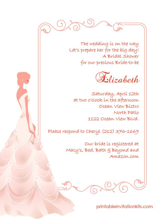 16 best Bridal Shower Invitations (free) images on Pinterest - bridal shower invitation samples