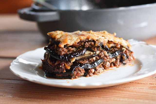Feasting at Home : Rustic Eggplant Moussaka For gluten free: make topping with 2 eggs, 2 c. plain yogurt, 1 T lemon juice, pinch of nutmeg and s&p.