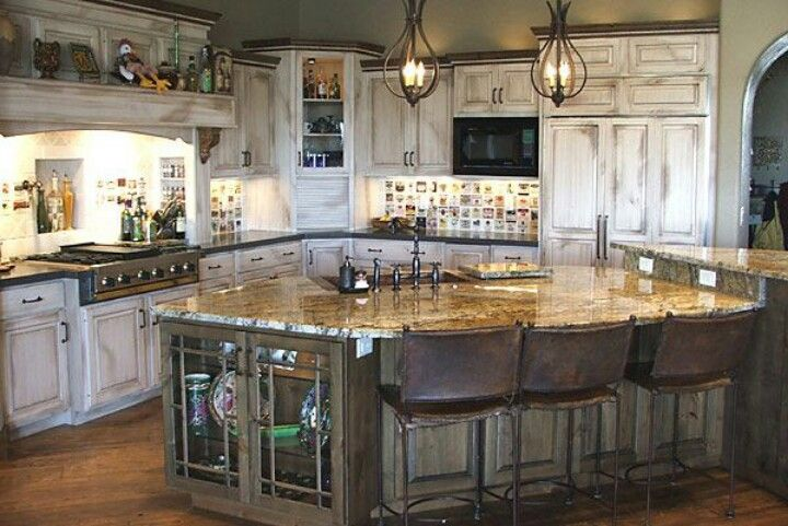Rustic white washed kitchen love this my dream for Rustic white kitchen cabinets