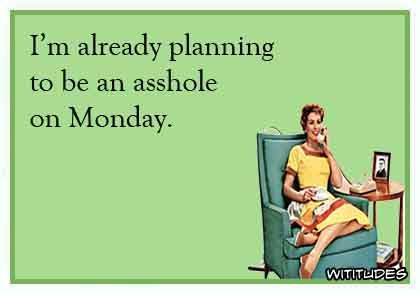 Hahaha.... Yep pretty much already-planning-be-asshole-monday-ecard
