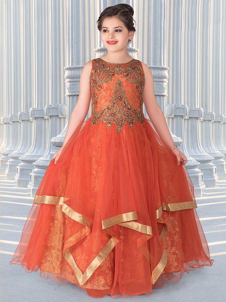 Orange Net Frill Pattern Gown Gowns for girls, Kids