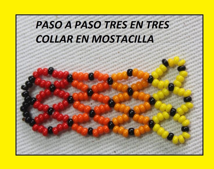 PUNTO BASICO PARA COLLAR EN MOSTACILLA //TRES EN TRES paso a paso