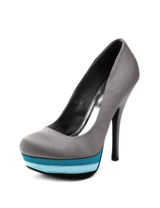 Silver satin pumps with teal accents from Charlotte Russe
