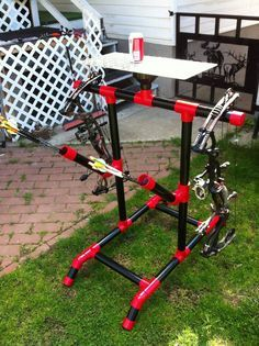 PVC Bow Stand with Quivers and Table.