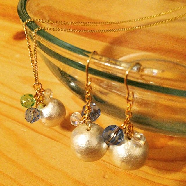Made those earrings and necklace with cotton pearl♪  #earrings #accessories #handmade