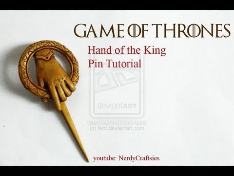 "▶ Tutorial: Game of Thrones ""Hand of the King"" Pin Polymer Clay - YouTube"