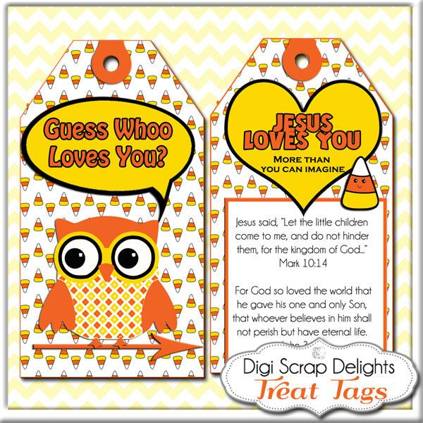 Halloween or Harvest Festival Printable Scripture Treat Tags. Candy Corn, Owl in Yellow, Orange and Black for Sunday School or Party Favors. $3.00, via Etsy.