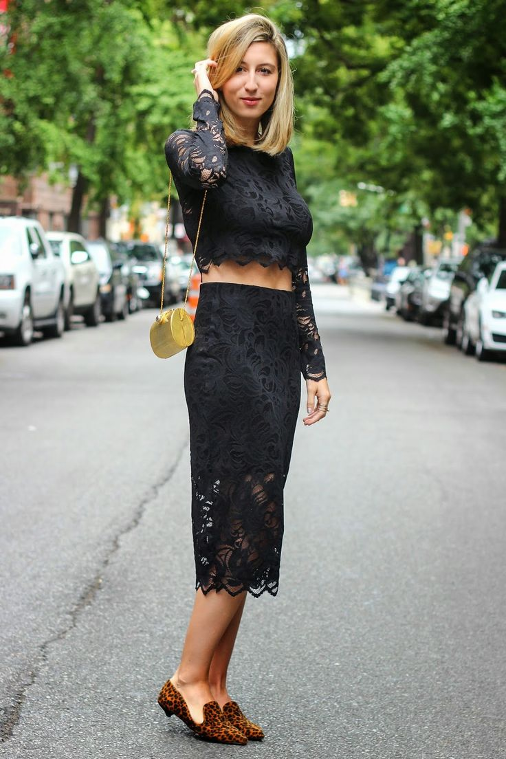 "Courtney of the blog ""Darling Two"" in a matching black lace crop top and skirt from our By Night Collection. #PartyInHM"