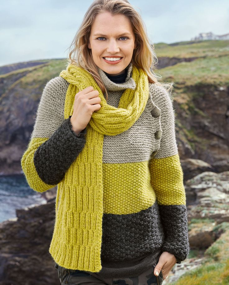 Трехцветный пуловер и двухсторонний шарф 38/40 (42/44) 46/48 Шарф: 30 x 188 cм