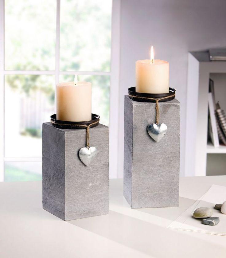 Kerzenhalter Dekosäule Holz grau silber 2er Set Shabby-Look Herz Kerzenständer