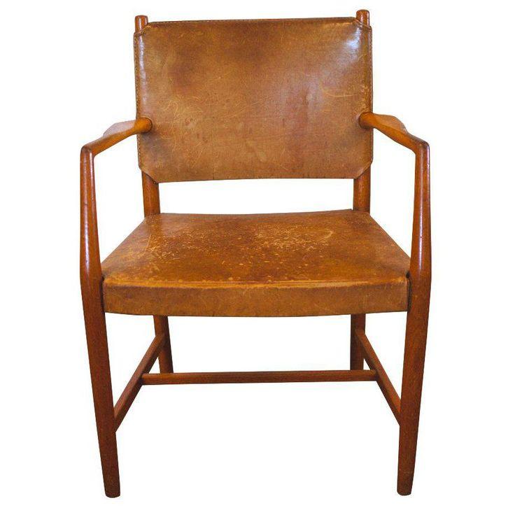 Image of Hans Wegner Brown Leather Armchair