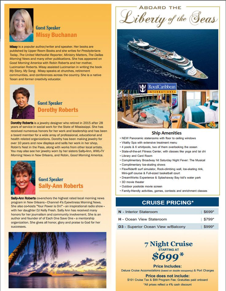 INTERESTING! There's really something for everyone! Book this featured event through me! The Footloose and Faithful cruise brings together Upper Room Books author and speaker Missy Buchanan with Dorothy Roberts and Sally-Ann Roberts, the sisters of Good Morning America's Robin Roberts, for a lively celebration of faithfulness in mid and late life. Missy Buchanan, who co-authored My Story, My Song with Lucimarian Roberts --the mother of Lawrence II, Robin, Dorothy and Sally-Ann-- will share…