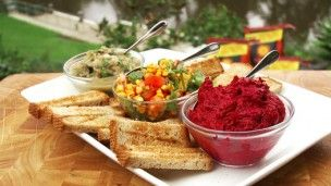 Beetroot Dip | Janella Purcell - Lay out some aluminium foil,  place 4 baby beetroot inside with about 1 tsp olive oil. Wrap up and cook on BBQ until tender (about 15 mins). Allow to cool slightly then rub skin off with your fingers. Process beetroot with 1/4 cup unhulled tahini, 1/4 cup lemon juice, 1/4 cup almonds  1 tsp sea salt. If desired, drizzle with a little almond oil before serving. Or use as a filling in ravioli. #vegan #vegetarian #dairyfree #glutenfree #dip #snack