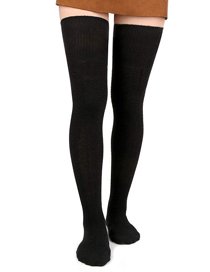 5650d185616 Women Thigh High Socks Black Over the Knee Leg Warmer Girls Tall Long  Stockings