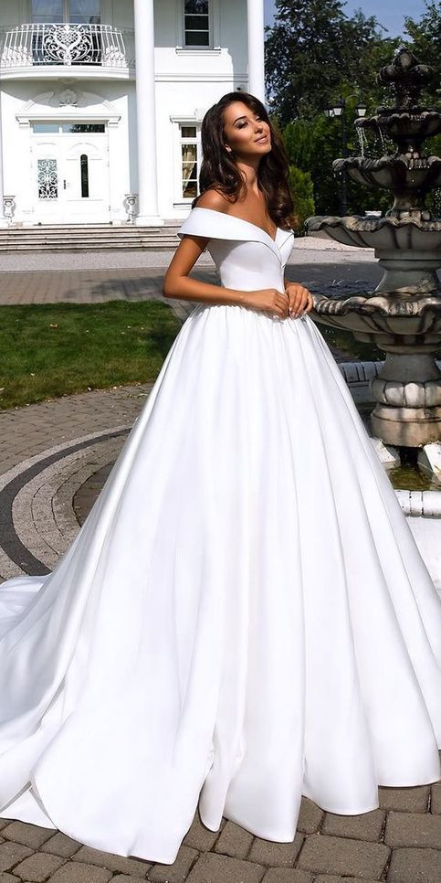 Fashion forward wedding dresses ball gown off the shoulder wedding dress simple satin bridal dress LP709