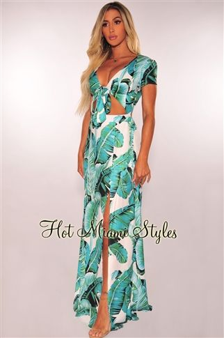 61aad97abb Palm prints are the ultimate print for the summer season and this maxi dress  is the perfect piece for your vacay or weekend adventures. Features a front  tie ...