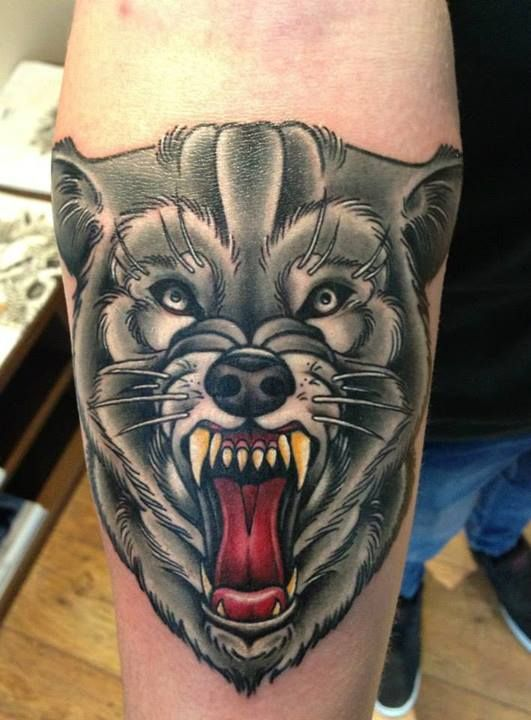 Fierce Wolf Tattoo By Lauren