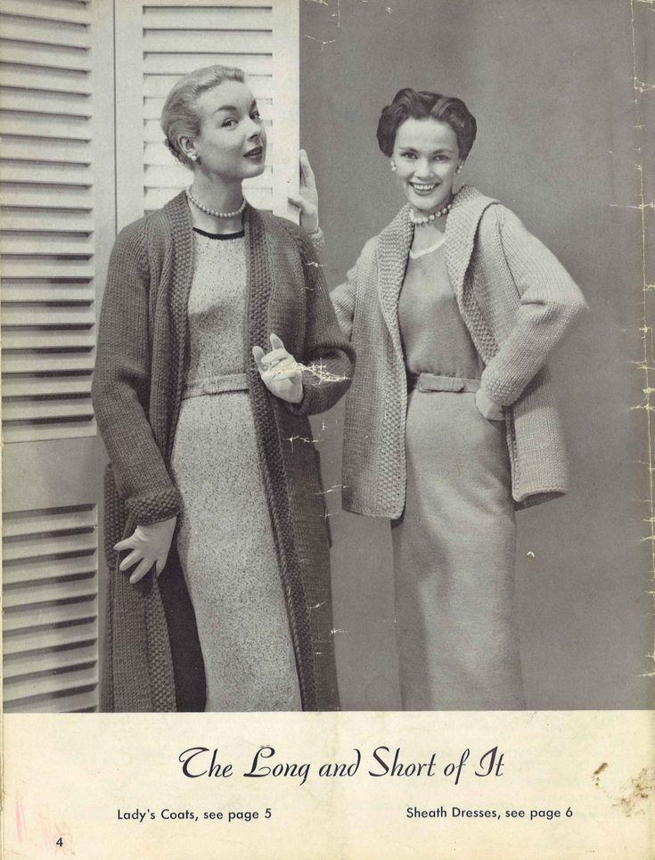 Duster Jacket Knitting Pattern : Coats & Dresses   1950s Dress Coat Duster Jacket Patterns   50s Vintage K...