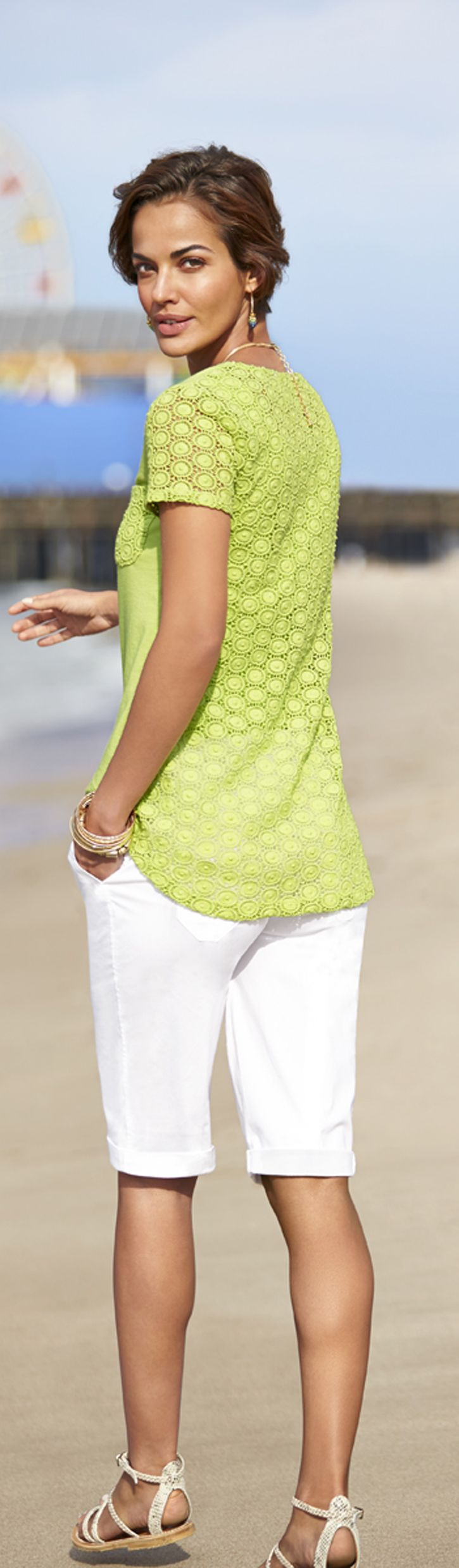 Chico's Layton Lace Tee. A simple tee made stunning with feminine lace.
