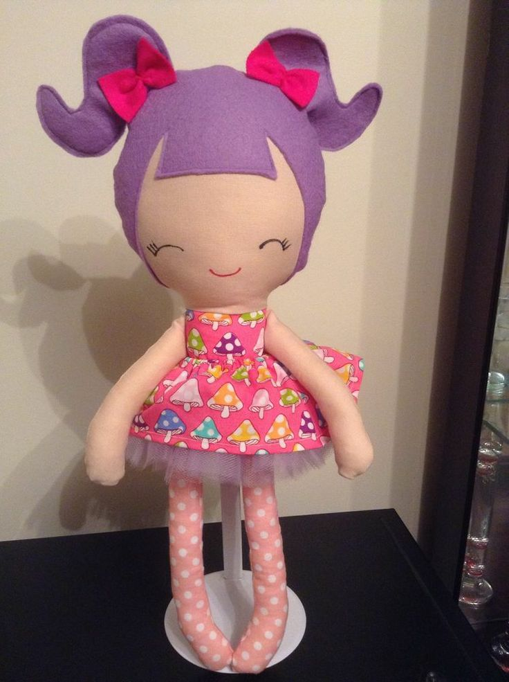 Handmade doll with removable skirt and Tutu dress Pink and lilac