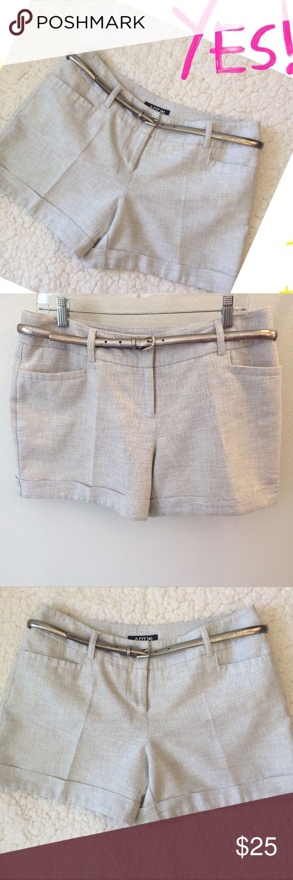 """Sexy,  fashionable linen & cotton blend short. 💋 These are the perfect shorts.  Pair them with a pair of high heels and sexy top and you're off to your date! 👠.  They have a double belt loop (see pic), that allows you to change the belt with a different width.  They have a shiny thread woven in the fabric that gives them a suttle shine.  Tag Size: 12. Measurements: waist 32"""".           Hips 44"""". Length 13 1/2"""". Leg opening 26"""".  No trades please ❣️ No model. ❣️ thank you for stopping by 🤗…"""