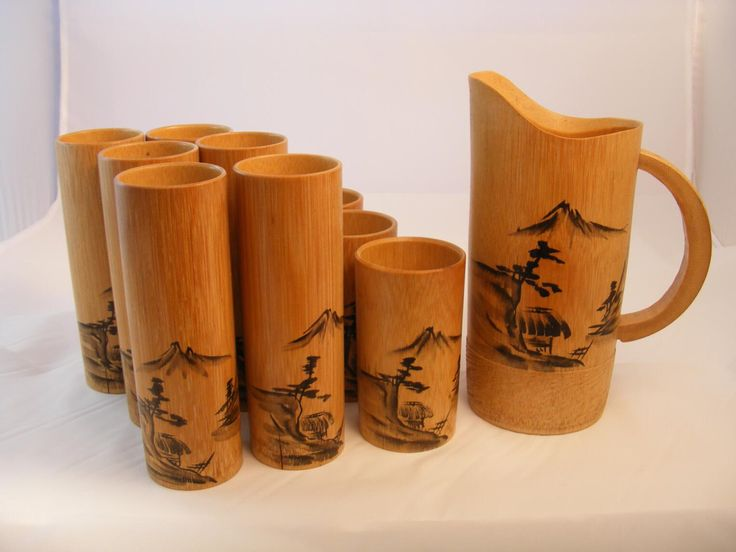 1950s Vintage Asian Bamboo Wood Bar Ware Drink Set , Retro Tiki Japan Bamboo, 6 Tumblers, 3 Juice Glasse and Pitcher, Set of 10 by Covenants on Etsy https://www.etsy.com/listing/228338661/1950s-vintage-asian-bamboo-wood-bar-ware