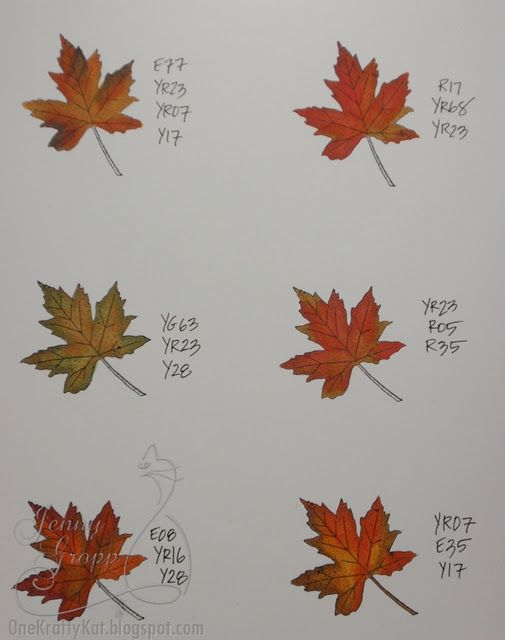Copic marker recipes for coloring fall leaves
