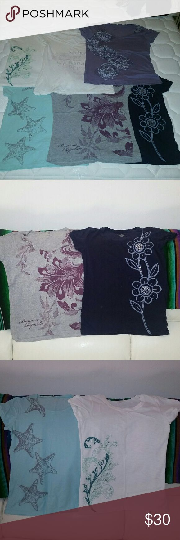 Lot of 6 Banana Republic Tshirts 6 size small Banana Republic tshirts. Great condition, no damage. Some are crew neck, some are v-neck. Can mix and match from other lots of tshirts i have listed. Or you can just buy 1, 2, 3....however many you want for $5 each. Just message me with details and descriptions. Banana Republic  Tops Tees - Short Sleeve