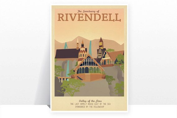 Retro Travel Poster - The Lord Of The Rings - Rivendell