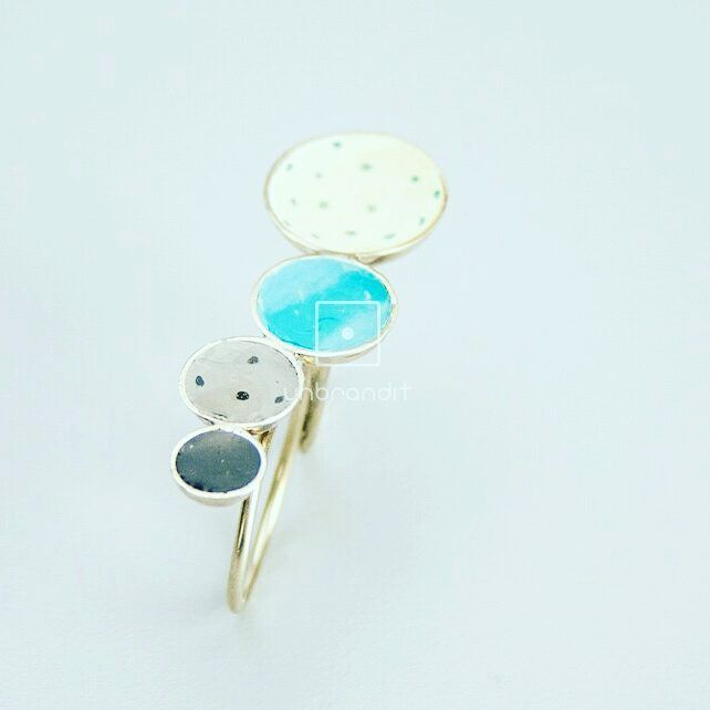 Handmade  double  ring polka-dot from nickel silver and liquid glass