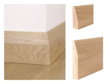 Solid oak chamfer round skirting board and architrave