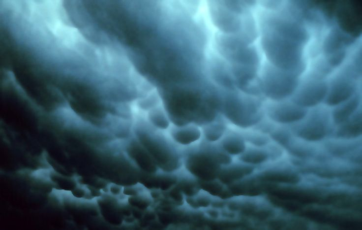 Mammatus Clouds in Tulsa, Oklahoma, USA; June 2, 1973 - One environmental trend is shared by all of the formation mechanisms hypothesized for mammatus clouds: sharp gradients in temperature, moisture and momentum (wind shear) across the anvil cloud/sub-cloud air boundary, which strongly influence interactions therein - Wikipedia