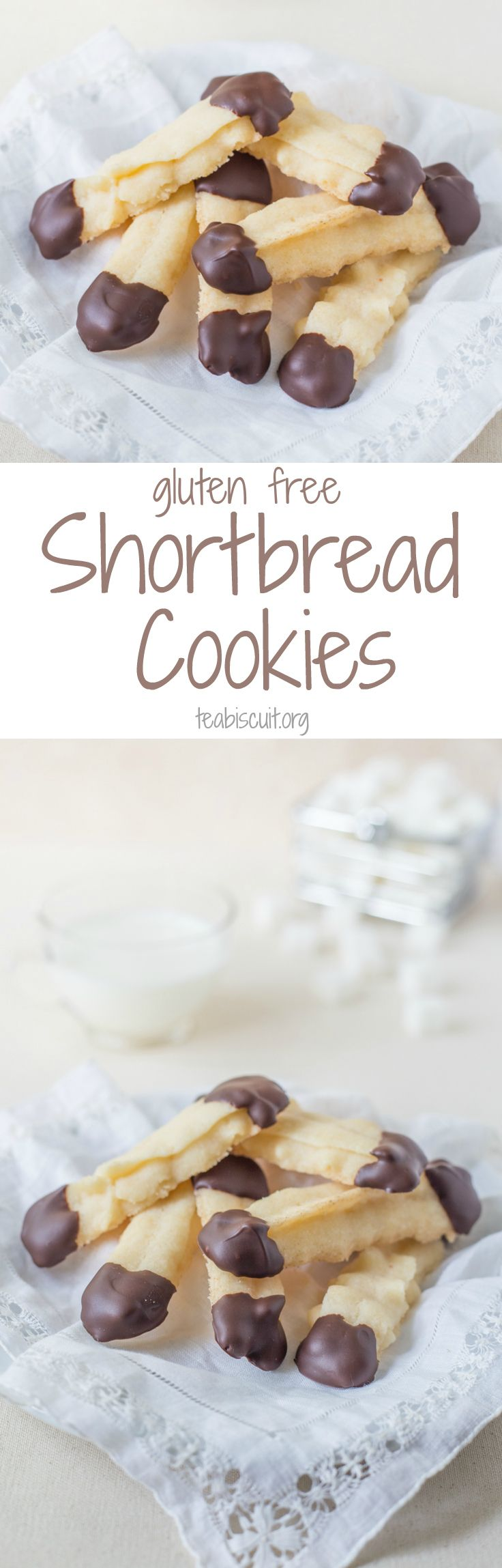 Gluten Free Shortbread Cookie - vegan, easy and dipped in Chocolate! Contains no eggs, gluten, dairy, soy or nuts!