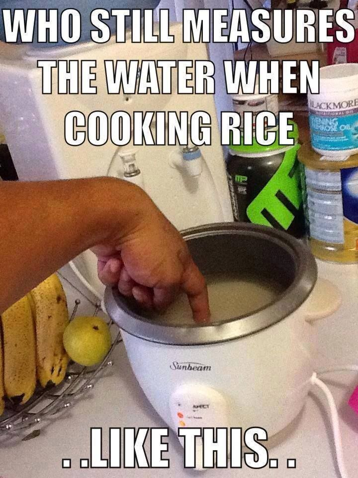 I can't stop laughing. My Filipino mom taught me at age 4 how to cook rice and this was how we measure water.