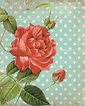 Beautiful vintage flowers layered on top of shabby chic polka-dots.