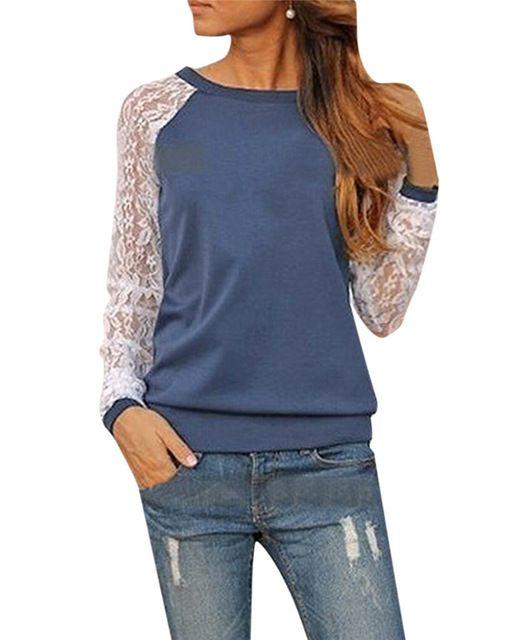 2015 nuevas mujeres otoño blusa ocasional moda encajes de ganchillo Patchwork camisa de manga larga Tops tallas grandes Blusas de renda feminino