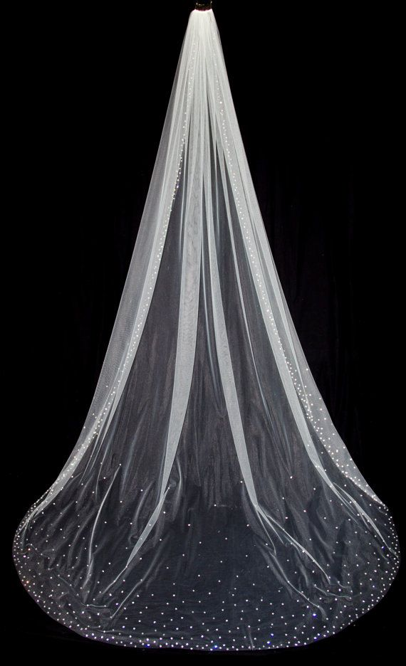 Items Similar To Cathedral Length Bridal Veil With Crystal Edge And Tered Crystals White Diamond Ivory Style 1033 Megan On