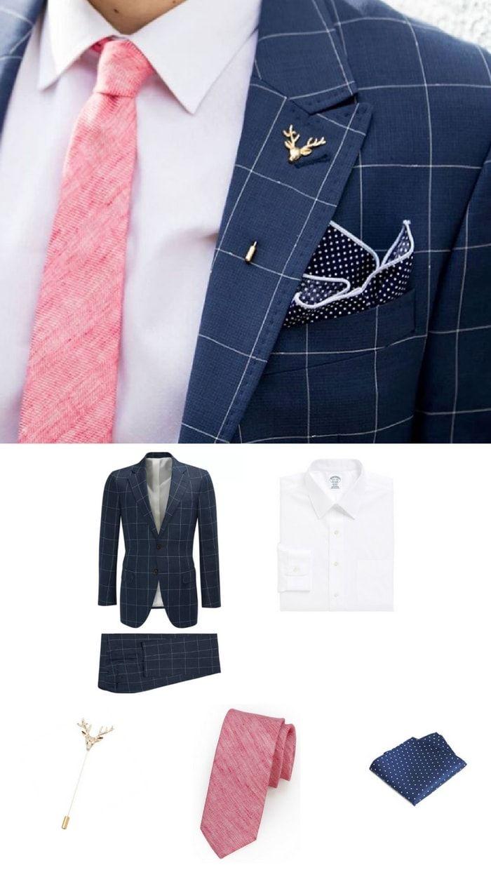 How to Wear Pink in Summer: Textured Tie + Navy Suit