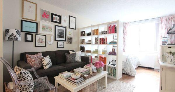 client spaces: Jackie's NYC studio apartment - decorating small spaces | Studio Apartments, Nyc Studio Apartments and Decorating Small Spaces