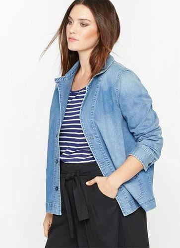 Veste longue jean femme grande taille