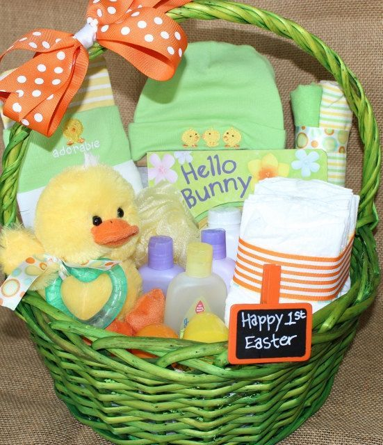 46 best joy in celebrating easter images on pinterest easter ideas big first easter basket filled with adorable goodies negle Gallery