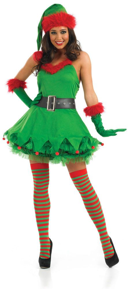Ladies Christmas Elf Costume for Santa s Helper Fancy Dress Up Outfits